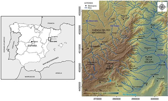 Localización de la zona de estudio, Baix Ebre, S de Cataluña, NE de la Península Ibérica (izquierda) y Embalse de Ulldecona en el sistema Ports de Beseit, con los límites de la zona de estudio (derecha)