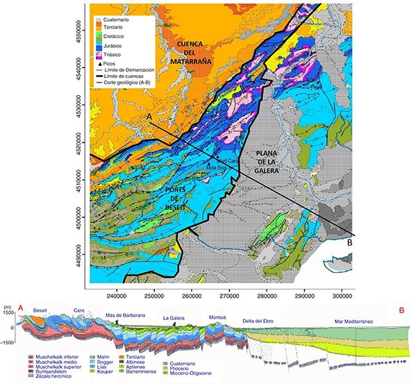 Mapa geológico de la zona de estudio según la Confederación Hidrográfica del Ebro