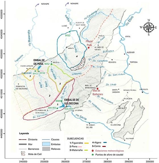 Ubicación de subcuencas de la vertiente Matarraña y embalse de Ulldecona, así como de los puntos de aforo y estaciones meteorológicas utilizadas