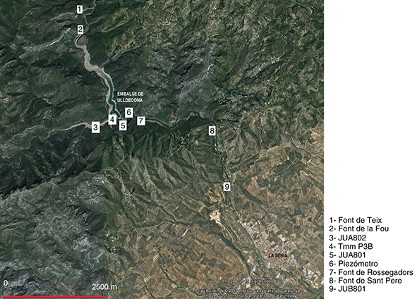 Localización de los puntos de control de calidad del agua del embalse de Ulldecona de la red de puntos de aforo de la Confederación Hidrográfica del Júcar (Mapa base: Google Earth-Institut Cartogràfic de Catalunya)